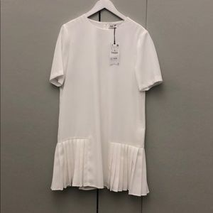 Brand New, White, Pleated, Zara Dress